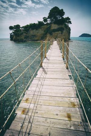wooden bridge: Hanging wooden bridge over the sea, Cameo Island Zakynthos Greece Stock Photo