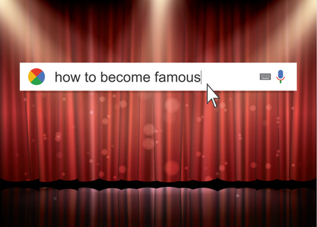 become: Searching the web for information about how become famous vector illustration