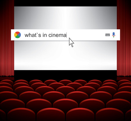 repertoire: Searching the web for information about seances in cinema vector illustration