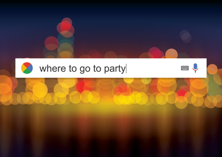 go for: Searching the web for information about where to go for a party vector illustration Illustration