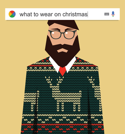 telecommute: Searching the web for information about what to wear on Christmas vector illustration Illustration