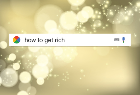 telecommute: Searching the web for information about becoming rich vector illustration