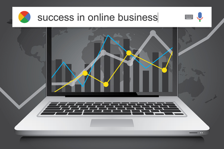 achieving: Searching the web for information about achieving success in business online vector illustration