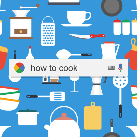 learning to cook: Searching the web for information about how to cook vector illustration