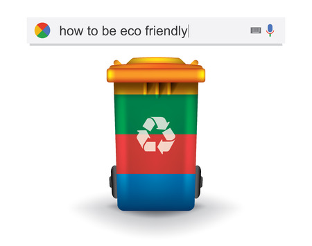 Searching the web for information about how to be eco friendly vector illustration