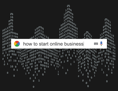 online business: Searching the web for information about start online business vector illustration Stock Photo