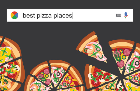 italian tradition: Searching web for information about the best pizzerias vector illustration Stock Photo