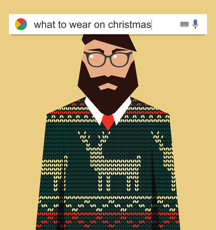 telecommute: Searching the web for information about what to wear on Christmas vector illustration Stock Photo