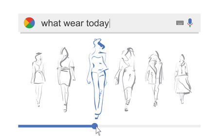 choosing clothes: Searching the web for information about what to wear vector illustration Stock Photo