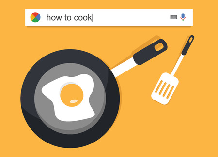 telecommute: Searching the web for information about how to cook vector illustration