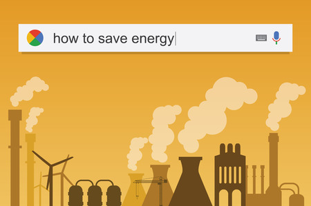 telecommute: Searching the web for information about how to save energy vector illustration
