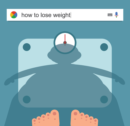 searching: Searching the web for information about weight loss vector illustration