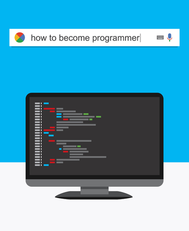 telecommute: Searching the web for information about becoming a programmer vector illustration