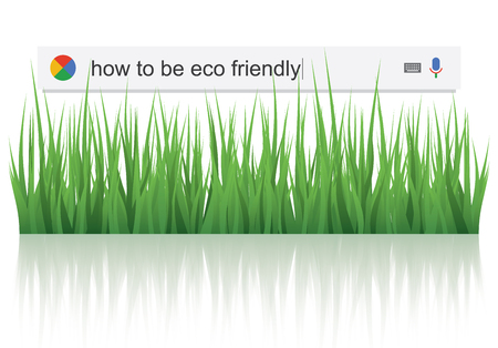 telecommute: Searching the web for information about how to be eco friendly vector illustration