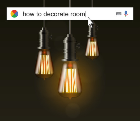 telecommute: Searching the web for information about how decorate room vector illustration