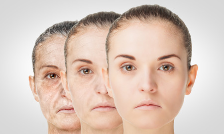 rejuvenation: Aging process, rejuvenation anti-aging skin procedures. Old and young concept