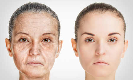 aging skin: Aging process, rejuvenation anti-aging skin procedures. Old and young concept