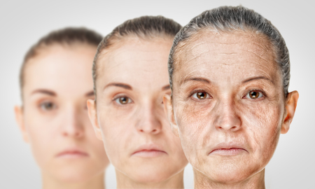 Aging process, rejuvenation anti-aging skin procedures. Old and young concept Reklamní fotografie - 58199051