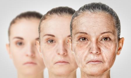 processo di invecchiamento, ringiovanimento anti-invecchiamento della pelle procedure. Vecchi e giovani concept