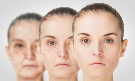 Aging process, rejuvenation anti-aging skin procedures. Old and young concept