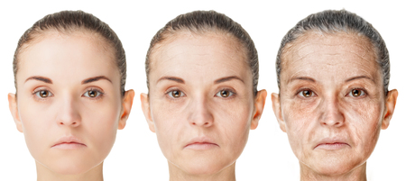 Aging process, rejuvenation anti-aging skin procedures. Old and young faces isolated on white background Archivio Fotografico