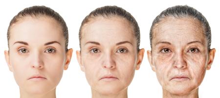 Processus de vieillissement, rajeunissement des procédures anti-âge de la peau. Vieux et jeunes visages isolés sur fond blanc Banque d'images