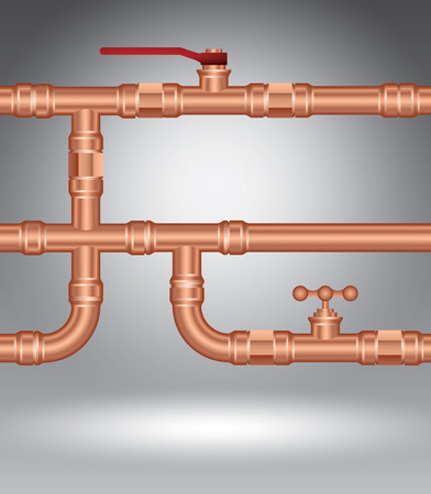 Copper pipes on grey, vector illustration template for advertising Vektoros illusztráció