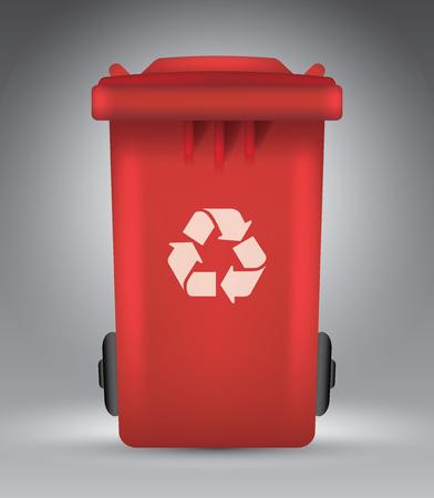 Trash bin on grey, vector illustration template for advertising Illustration