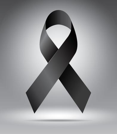 Black ribbon on grey, vector illustration template for advertising