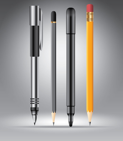 stylo: Pencils and pens on grey, vector illustration template for advertising