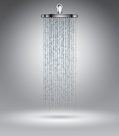 Rain shower on grey, vector illustration template for advertising