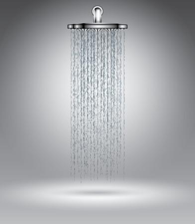 Regendouche op grijs, vector illustratie sjabloon voor reclame