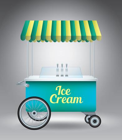 carretto gelati: Ice cream cart on grey vector illustration template for advertising