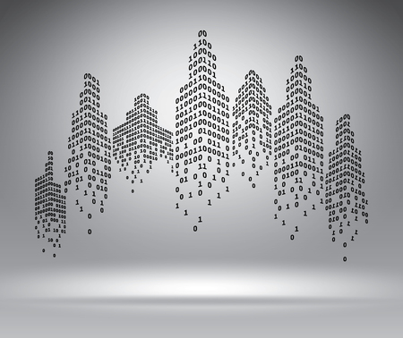 computer code: Binary city on grey, vector illustration template for advertising
