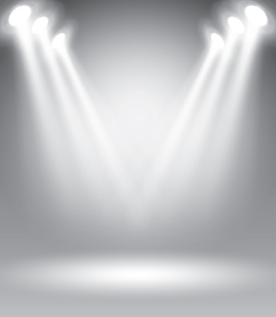 illuminated: Illuminated stage with scenic lights, vector illustration template for advertising