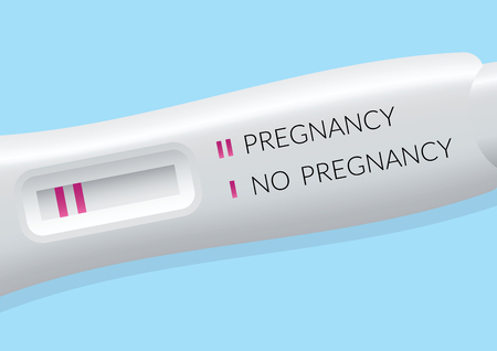 expectant: Positive pregnancy test isolated flat design, vector illustration