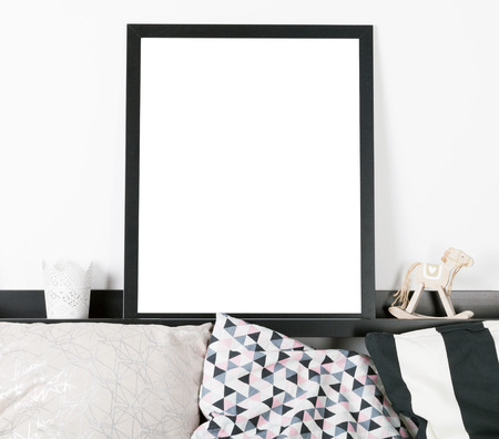 Mock up poster frame in home, interior background