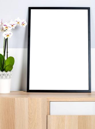 mocks: Mock up poster frame in home, interior background