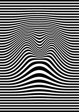 trickery: Op art abstract geometric pattern, black and white  illustration