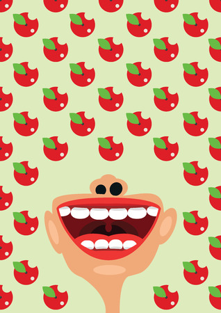 esophagus: Apples and open mouth as a symbol of healthy diet nutrition concept Stock Photo