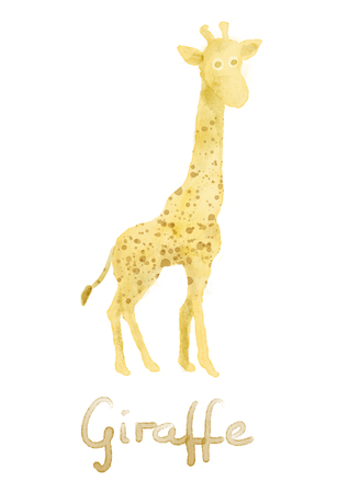 kid illustration: Watercolor giraffe, painted illustration from animals collection