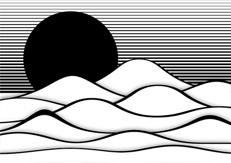 trickery: Op art abstract landscape, black and white illustration
