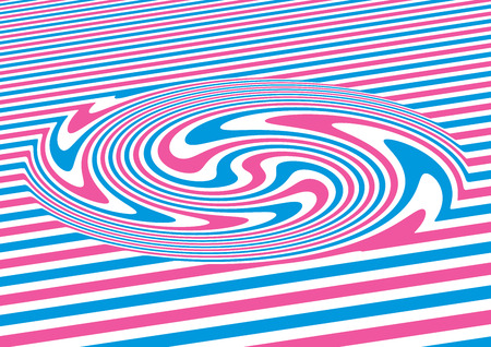 trickery: Op art swirl abstract geometric pattern, colorful illustration Illustration