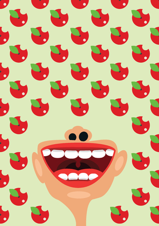 esophagus: Apples and open mouth as a symbol of healthy diet nutrition concept Illustration