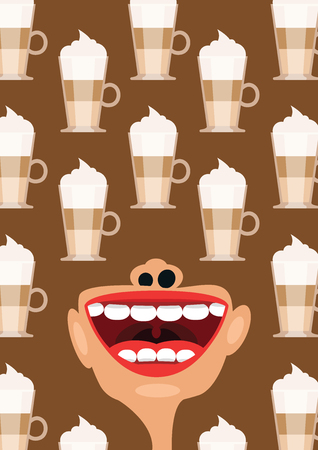 caffeine: Mocha coffee and open mouth as a caffeine addiction