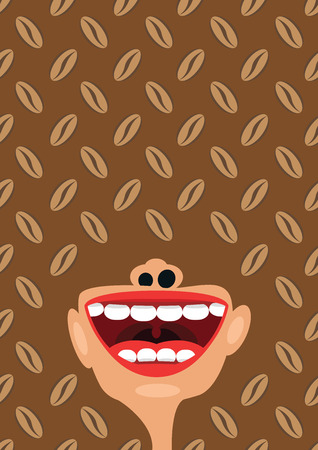 esophagus: Coffee beans and open mouth, concept of caffeine addiction