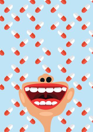 esofago: Píldoras y los suplementos nutricionales como un símbolo de los problemas de la medicación, el concepto de la adicción