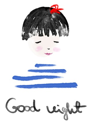 sleepy woman: Good Night sleeping little girl, watercolor hand painted illustration