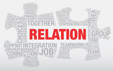 relation: Relation word cloud concept made of puzzle pieces, vector Illustration