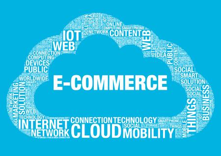 wordcloud: E-Commerce cloud computing, vector wordcloud concept illustration